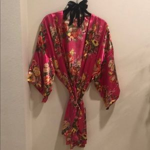 Pink floral kimono robe! Silk! ONLY WORN ONCE!